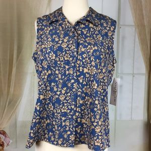 Villager Blue Floral Sleeveless Blouse
